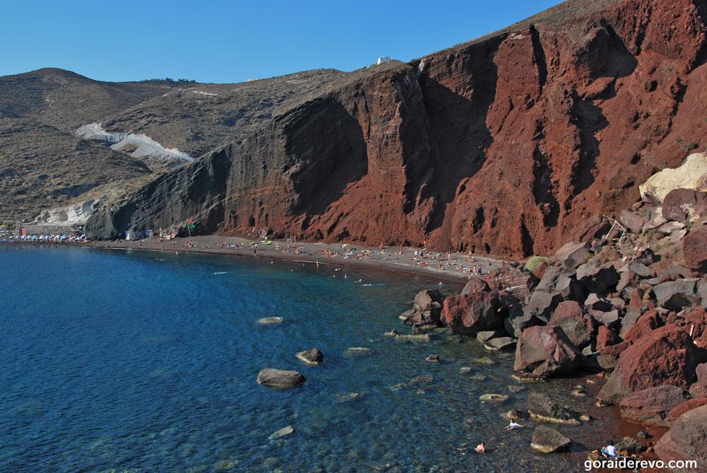 Санторини красный пляж