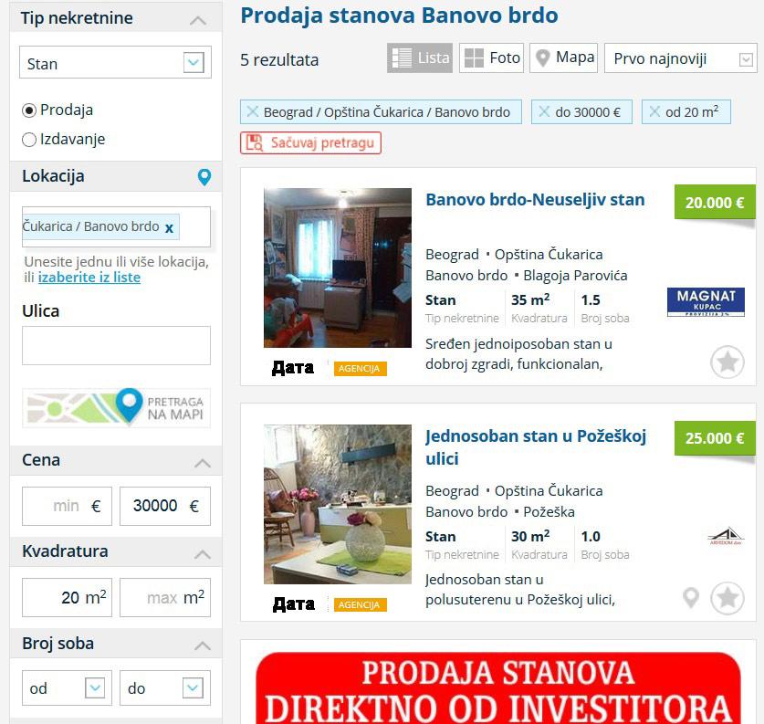 поиск дома в Сербии