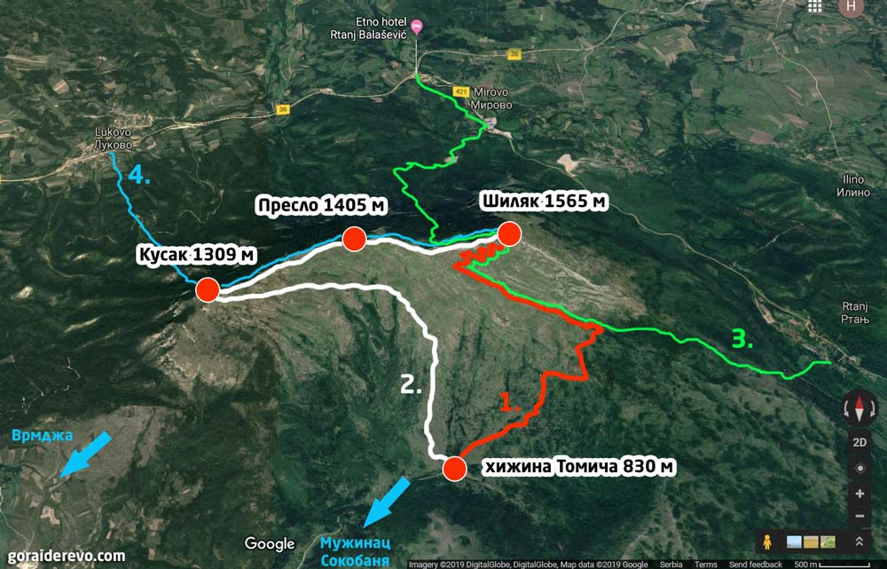 маршруты тропинки на гору Ртань